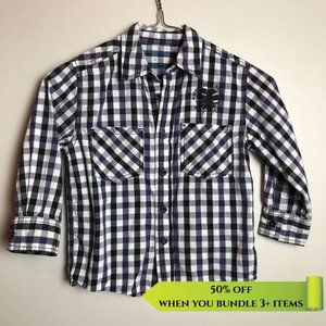 Cherokee Purple Plaid Button Up Shirt - Size 4Y